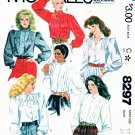 McCalls Sewing Pattern 8297 Misses Size 12 Long Sleeve Button Front Blouses Tucks Pintucks