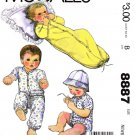 McCall's Sewing Pattern 8887 Baby Infant Size Newborn Knit Gown Creeper Shirt Pants Hat