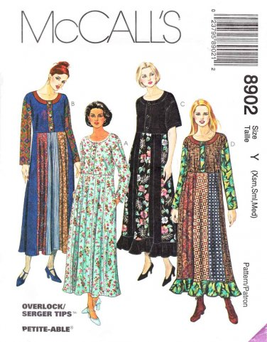 McCalls Sewing Pattern 8902 Misses Size 4-14 Pullover Patchwork Color Block Dress