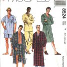 "McCall's Sewing Pattern 8524 Mens Chest Size 34-44"" Easy  Wrap Front Robe Pajamas Nightshirt Pants"