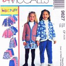 McCall's Sewing Pattern 9627 Girls Size 4-6 Easy Wardrobe Jacket Jumper Skirt Pants