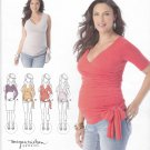 Simplicity Sewing Pattern 1468 Maternity Misses Size 6-24 Front Wrap Knit Top Ties Sleeve Options