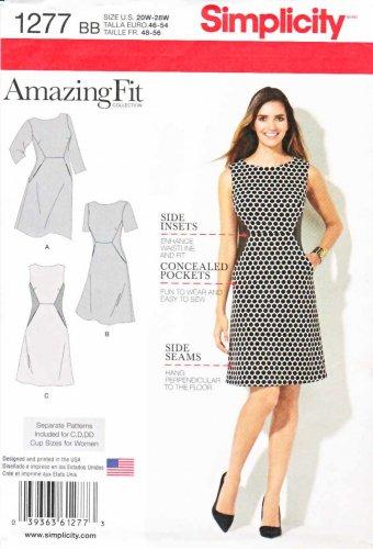 Simplicity Sewing Pattern 1277 Women's Plus Size 20W-28W Amazing Fit Dress Sleeve Options