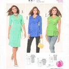 Burda Sewing Pattern 6957 Maternity Misses Size 8-20 Knit Front Wrap Dress Top Sleeve Options