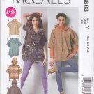 McCall's Sewing Pattern 6603 Misses Sizes 4-14 Easy Pullover Tops Hoods Sleeve Collar Options
