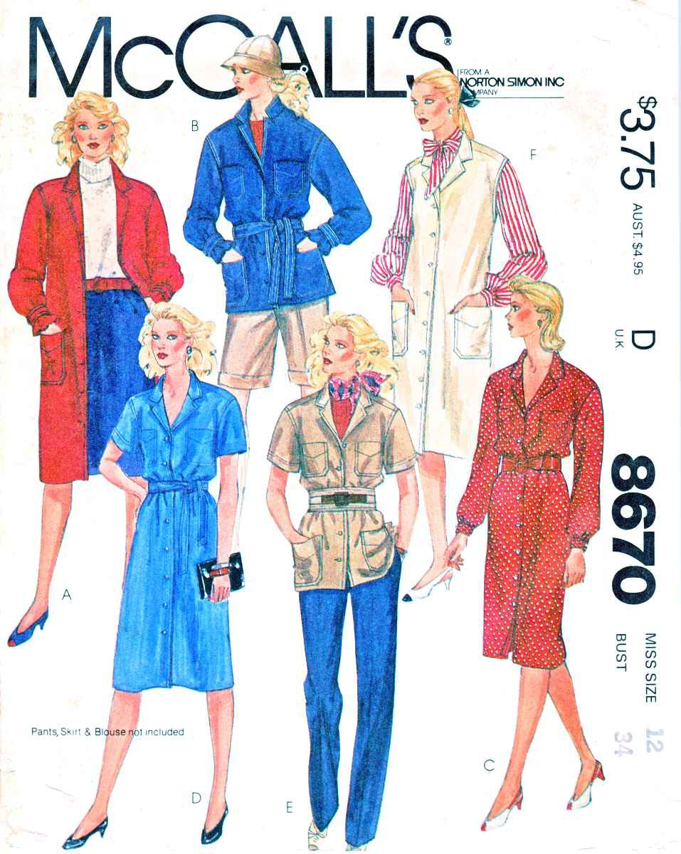 McCall's Sewing Pattern 8670 Misses Sizes 12 Button Front Jacket Dress Top Duster Vest
