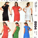 McCall's Sewing Pattern 8994 Misses Sizes 12 Easy Straight Dresses Back Buttons Neck Options