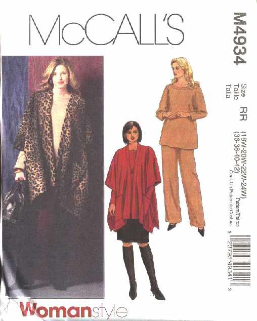 McCall's Sewing Pattern 4934 Womans Plus Size 18W-24W Wardrobe Jacket Pullover Top Pants Skirt
