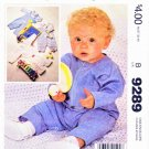 McCall's Sewing Pattern 9289 Baby Sizes NB-L Infant Jumpsuit Overalls Shirt Sleeve Options