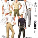 McCall's Sewing Pattern 9394 Teen Boy Size 16 Dress Pants Shorts Front Pleat Option
