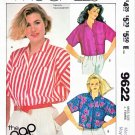 McCall's Sewing Pattern 9622 Misses Size 14-16 Easy Button Front Cropped Shirts