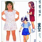 McCall's Sewing Pattern 9631 Girls Sizes 3 Summer Shorts Tops