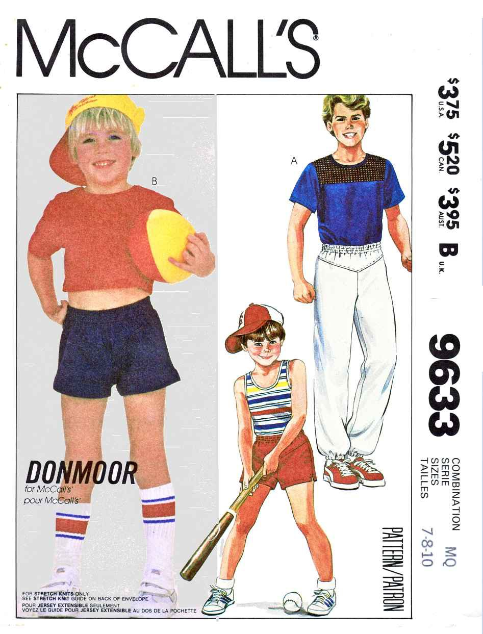 McCall's Sewing Pattern 9633 M9633 Boys Sizes 7-10 Donmoor  Summer Knit Shorts Tops T-Shirts Pants