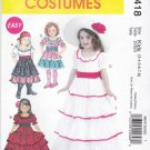 McCall's Sewing Pattern 6418 Childs Girls Size 3-8 Easy Costume Dress-up Dresses Tiered Skirts