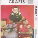 McCalls Sewing Pattern 4687 Crafts Christmas Stuffed Elf Gingerbread Cookie Kris Mouse