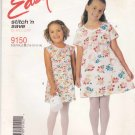 McCall's Sewing Pattern 9150 Girls Size 7-14 Easy Summer Raised Waist Dresses Sleeve Options