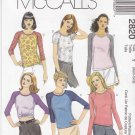 McCalls Sewing Pattern 2820 Misses Size 4-10 Classic Knit Tops Raglan Sleeve in Three Lengths