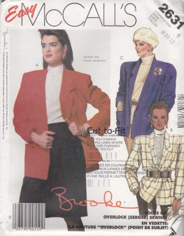 McCalls Sewing Pattern 2631 Misses Size 8-12 Easy Unlined Double Single Breasted Jacket