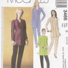 McCalls Sewing Pattern 3466 Misses Size 8-12 Button Front Tunic Pants Sleeve Options