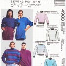 McCalls Sewing Pattern 4983 Misses Size 18-20 Knit Pullover Long Sleeve Tops Sweatshirts