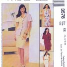 McCalls Sewing Pattern 3578 Misses Size 6-12 Button Front Dress Jacket Top Straight Skirt