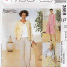 McCalls Sewing Pattern 3568 M3568 Misses Size 8-14 Easy Wardrobe Unlined Jacket Skirt Pants Top