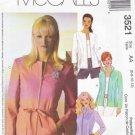 McCalls Sewing Pattern 3521 Misses Size 6-12 Zipper Front Long Sleeve Jacket Belt
