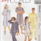 "McCalls Sewing Pattern 6642 Mens Misses Size XS Chest 30 ½ - 31 ½"" Easy Nightshirts Pajamas"