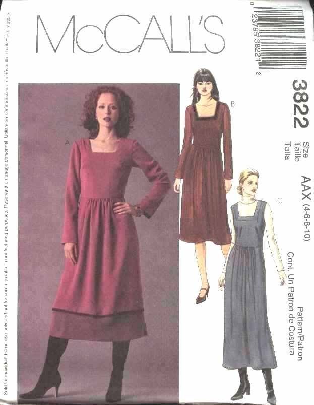 McCall's Sewing Pattern 3822 M3822 Misses Size 4-10 Long Short Gathered Skirt Dress Jumper