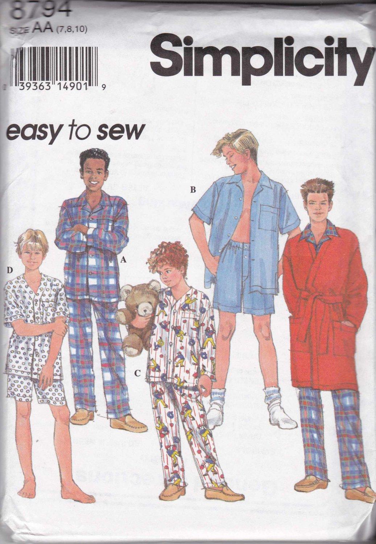 Simplicity Sewing Pattern 8794 8968 Boys Size 7-10 Easy Pajamas Robe Shirt Pants Shorts