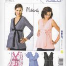 Kwik Sew Sewing Pattern 3487 Maternity Misses Size 6-22 Pullover Mock Wrap Top Sleeve Options