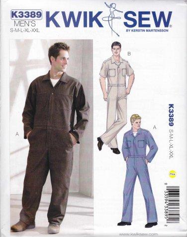 Kwik Sew Sewing Pattern 3389 Men's Sizes S-XXL Zipper Front Coveralls Sleeve Options