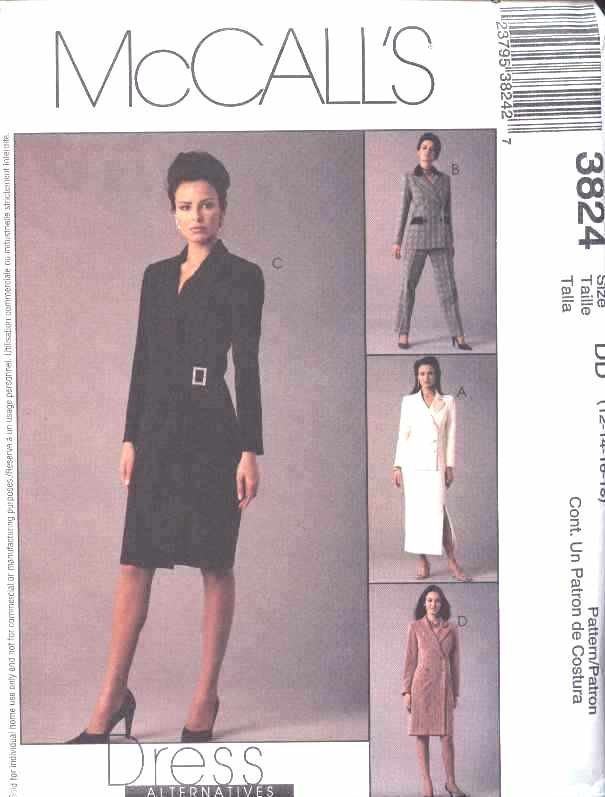 McCall's Sewing Pattern 3824 Misses Size 12-18 Double Breasted Lined Dress Jacket Skirt Pants