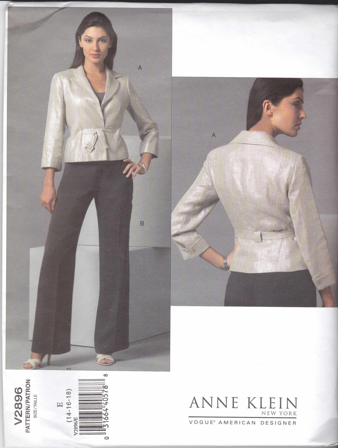 Vogue Sewing Pattern 2896 Misses Size 14-16-18 Jacket Pants Pantsuit Anne Klein