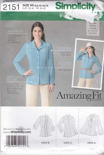 Simplicity Sewing Pattern 2151 Misses Sizes 6-14 Amazing Fit Button Front Blouse