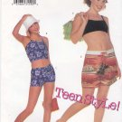 Butterick Sewing Pattern 6606 B6606 Junior Girls Size 1/2-7/8 Easy Knit Suntops Halter Top Shorts