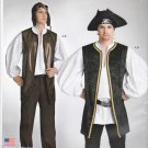 Simplicity Sewing Pattern S0693 0693 Mens Sizes XS-XL Easy Puffy Pirate Shirt Vest Costume