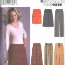 Simplicity Sewing Pattern 5462 Misses Size 4-10 Easy Yoke Long Pants Straight Flared Skirts