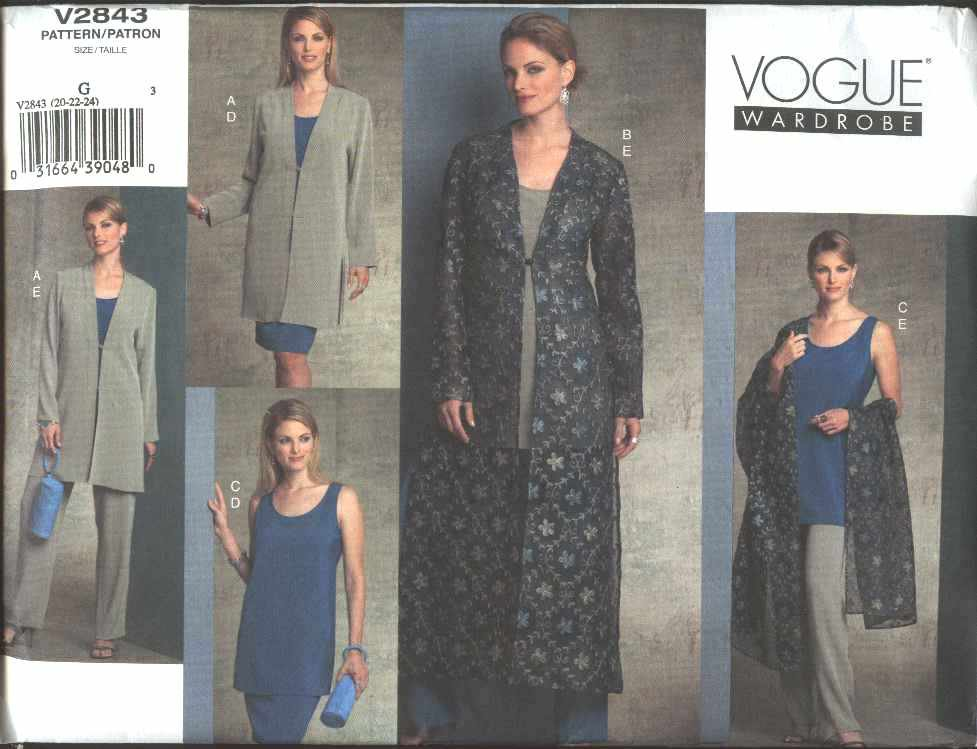 Vogue Sewing Pattern 2843 Misses Size 8-10-12 Easy Wardrobe Skirt Jacket Duster Tunic Top Pants