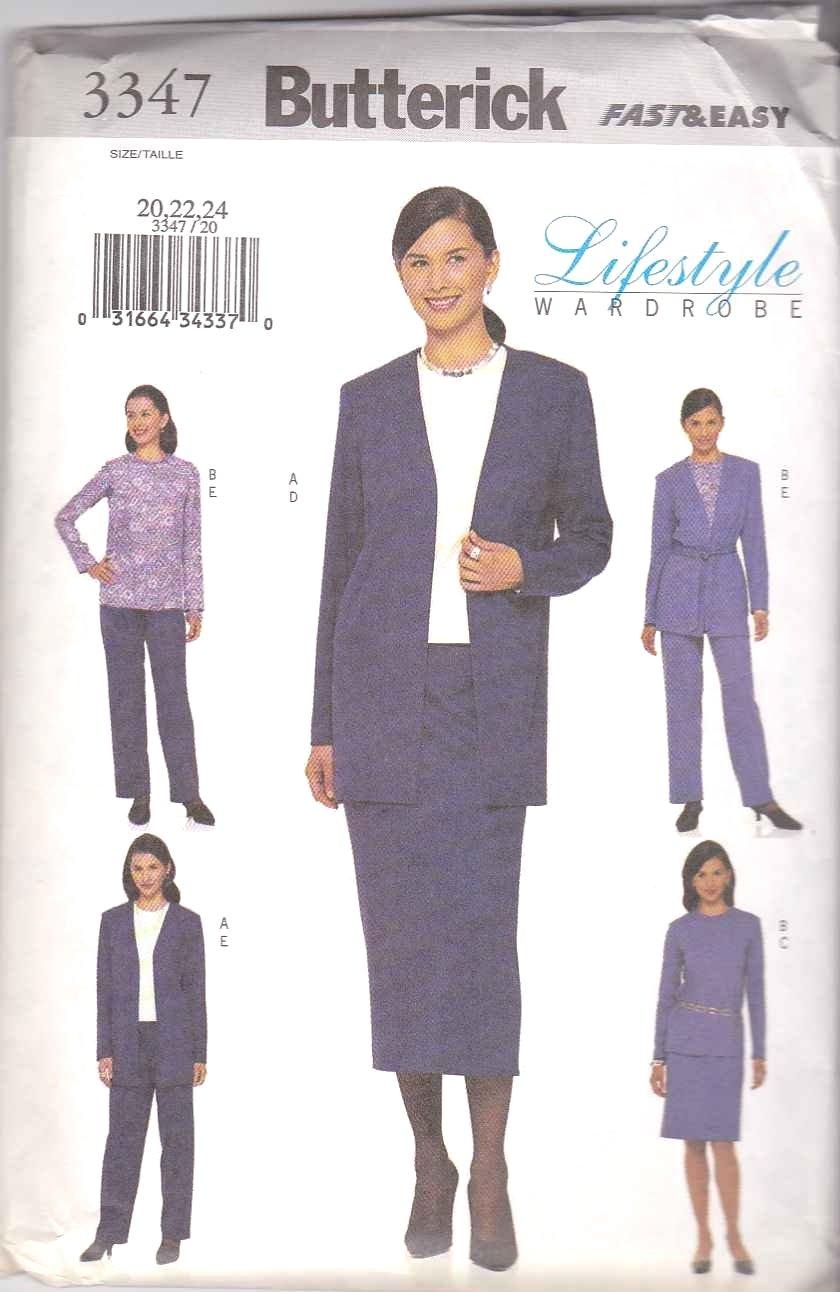 Butterick Sewing Pattern 3347 B3347 Misses Size 20-24 Easy Wardrobe Jacket Skirt Top Pants Belt