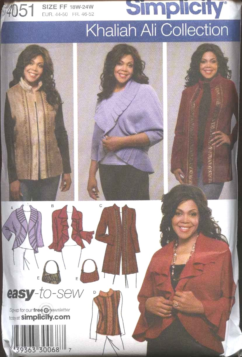 Simplicity Sewing Pattern 4051 Womans Plus Size 18W-24W Jacket Shrug Bolero Purse Vest Khaliah Ali
