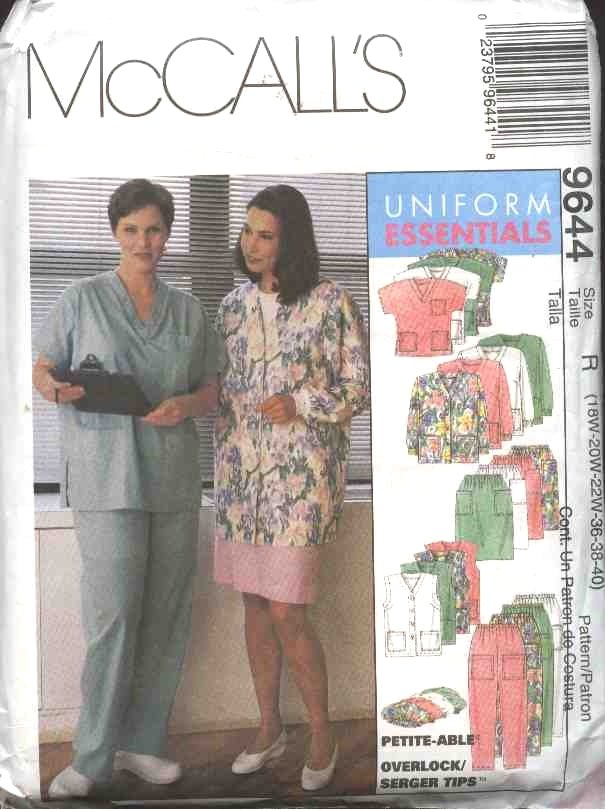 McCall's Sewing Pattern 9644 Womans Plus Size 22W-26W Scrub Medical Nurse Nursing Uniforms