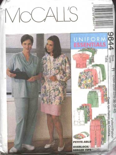 McCall's Sewing Pattern 9644 Womans Plus Size 28W-32W Scrub Medical Nurse Nursing Uniforms