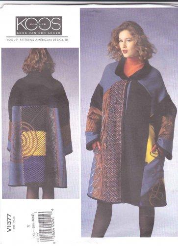 Vogue Sewing Pattern 1377 V1377 Misses' 16-26 Koos Van Den Akker Embellished Long Sleeve Coat