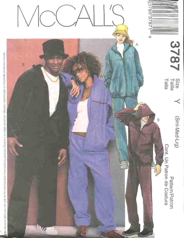"McCall's Sewing Pattern 3787 Misses Mens Unisex Chest Size 34-44""  Zipper Front Jacket Pants Hat"