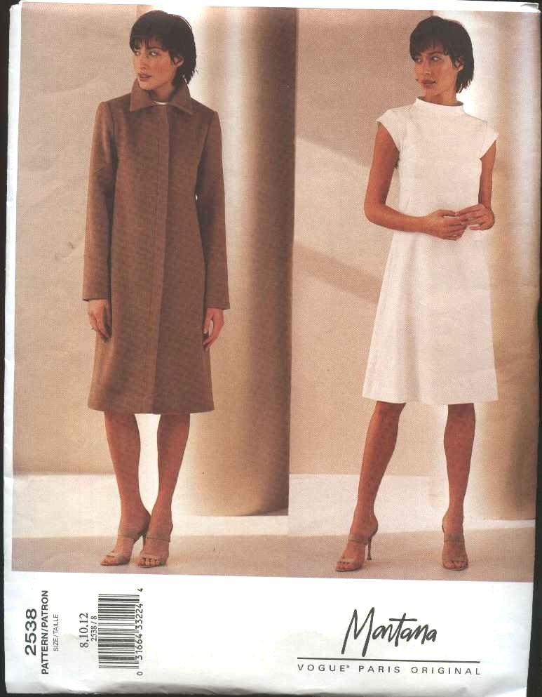Vogue Sewing Pattern 2538 Misses size 8-10-12 Montana Sleeveless Dress Long Sleeve Coat