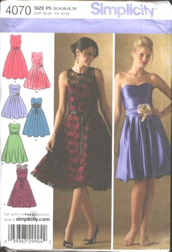 Simplicity Sewing Pattern 4070 Misses Size 12-20 Sleeveless Strapless Short Formal Party Dress