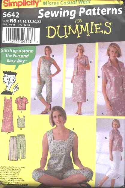 Simplicity Sewing Pattern 5642 Misses Size 14-22 Easy Summer Wardrobe Dress Top Cropped Pants