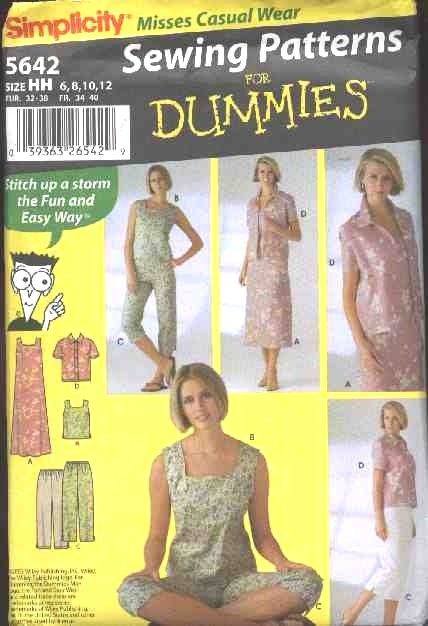 Simplicity Sewing Pattern 5642 Misses Size 6-12 Easy Summer Wardrobe Dress Top Cropped Pants