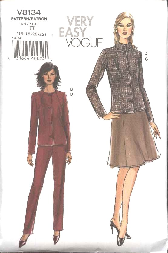 Vogue Sewing Pattern 8134 Misses Size 16-18-20-22 Easy Jacket Skirt Pants Suit Pantsuit